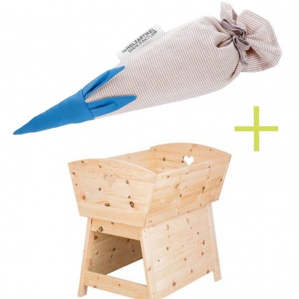 Zirbenholz Baby-Wiege mit Zirbenmaus