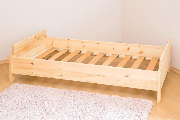 Zirbe Juniorbett mit Lattenrost Buchenholz