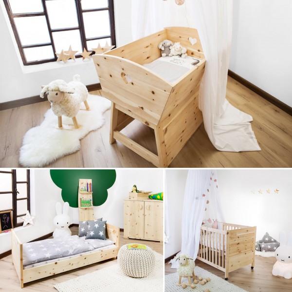 Zirbenholz Baukastensystem: Baby-Wiege - Juniorbett